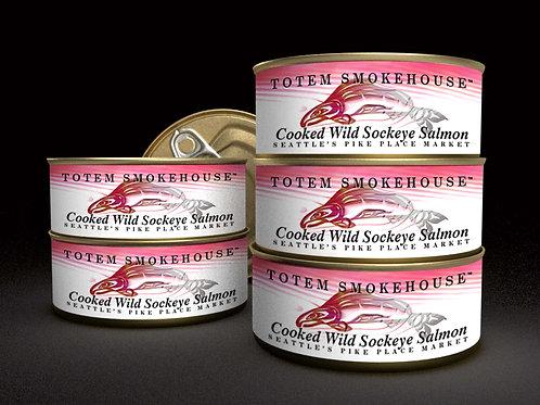 6-3.5 oz Cooked Wild Sockeye Salmon