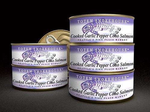 6-3.5 oz Cooked Garlic Pepper Wild Coho Salmon