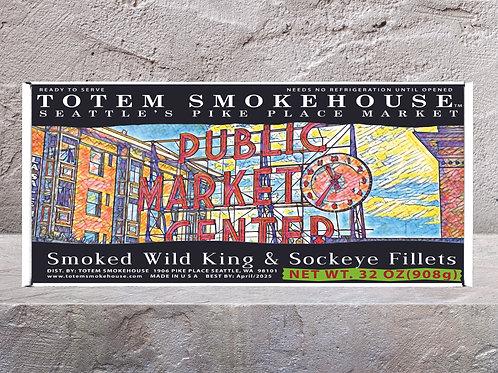 32 oz Smoked Wild King & Sockeye Pike Place Market Gift Box