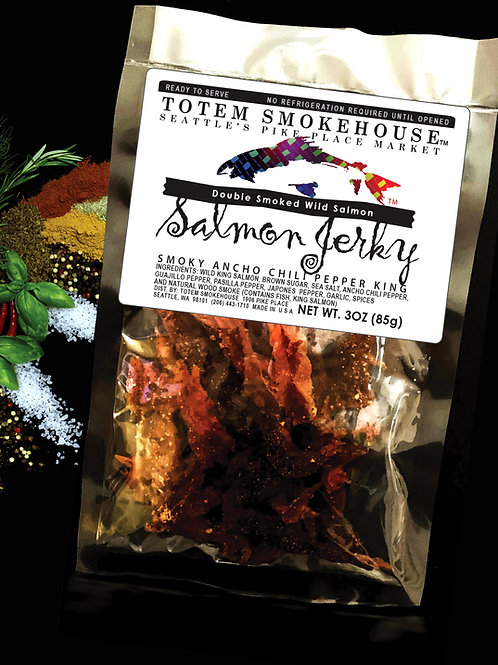 3 oz Smoky Ancho Chili Pepper Wild King Salmon Jerky