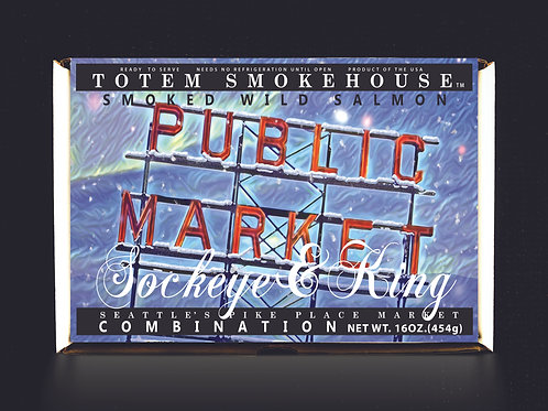 16 oz Smoked Wild Sockeye & King Pike Place Market Gift Box