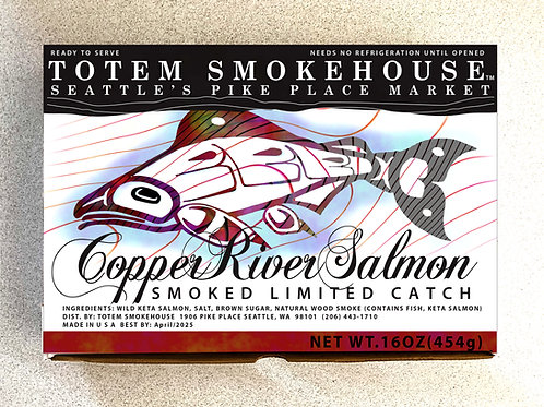 16 oz Smoked Wild Copper River Salmon Fillet Gift Box