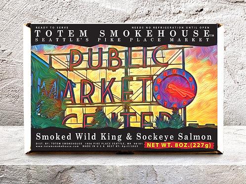8 oz Smoked Wild Sockeye & King Pike Place Market Gift Box