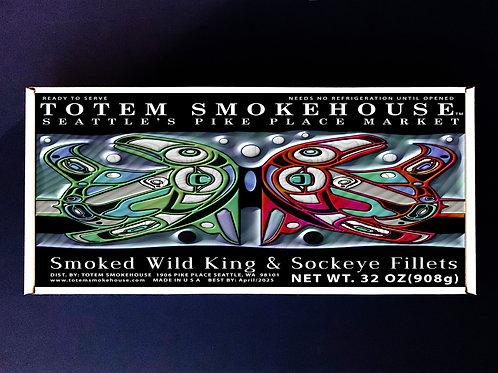32 oz Smoked Wild King & Sockeye Salmon Combination Gift Box