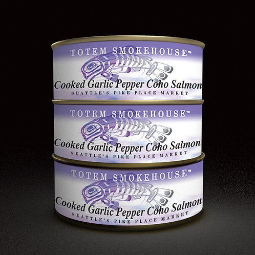 3-3.5 oz Cooked Garlic Pepper Wild Coho Salmon