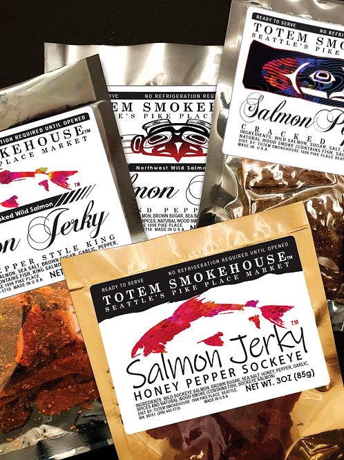 4-3 oz Pepper Palooza Variety Salmon Jerky Combination