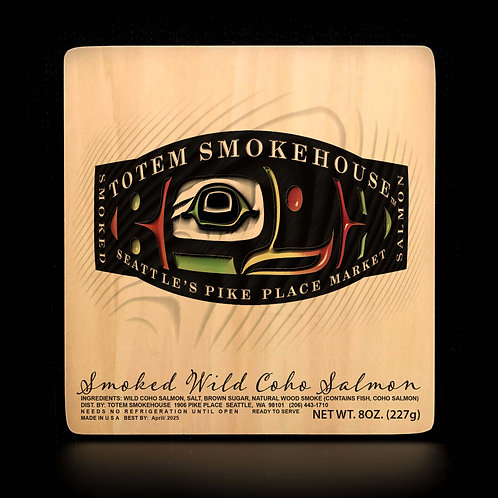 8 oz Smoked Wild Coho Salmon Wood Gift Box