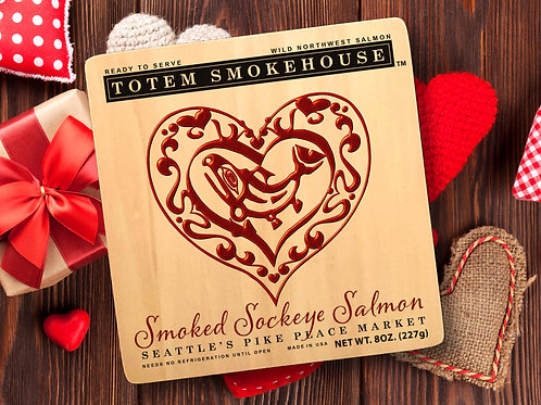 8 oz Smoked Sockeye Limited Addition Wood Valentine Gift Box