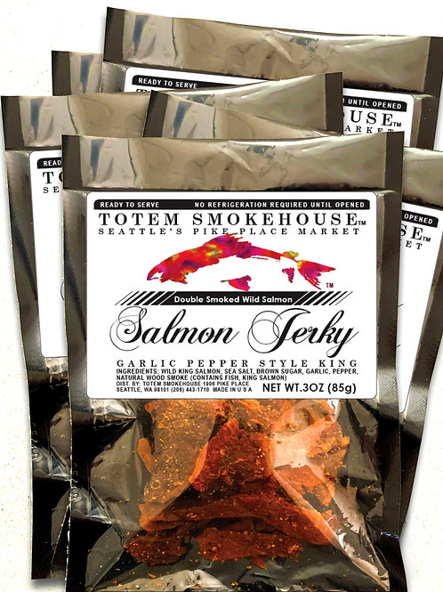 5-3 oz Garlic Pepper Wild King Salmon jerky