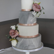 Grey marble fondant with blush rose flowers