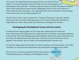 BE THE CHANGE Gleiche Chancen für Care Leaver Fachtagung am Freitag, 21.Februar 2020 im Rathaus Wien