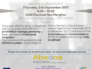 Invitation ABEONA Closing Event, 21st September 2017, Paris