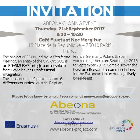 Invitation ABEONA Closing Event, 21st September 2017, Paris