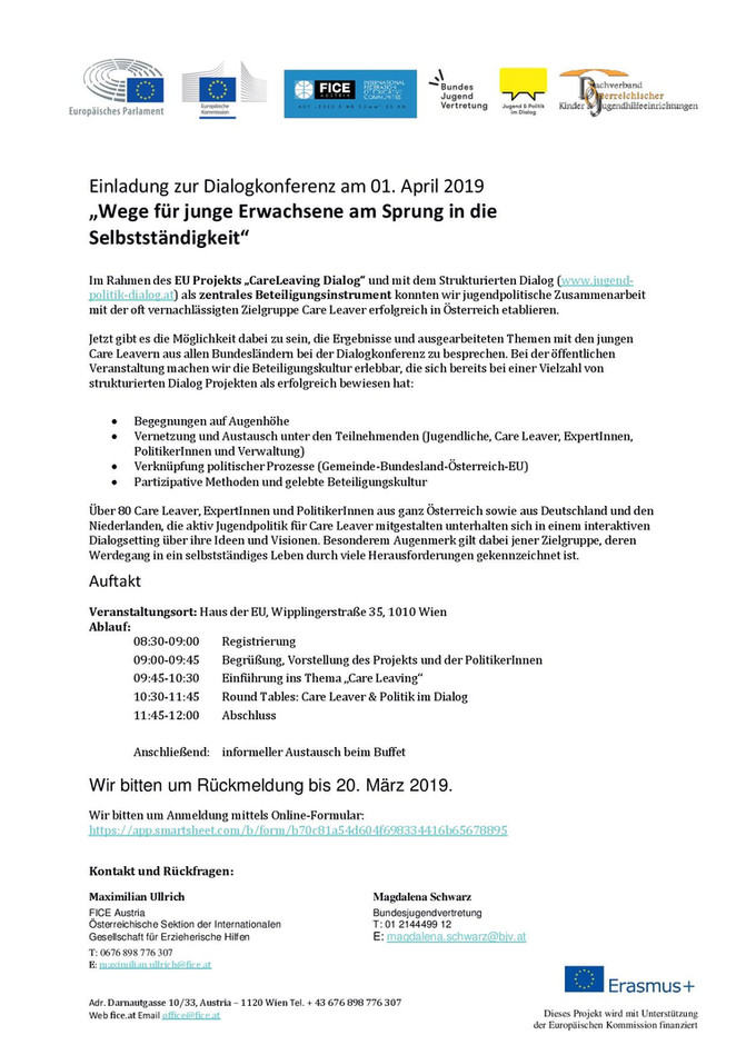 """Einladung """"CareLeaving Dialog – Wege für junge Erwachsene am Sprung in die Selbstständigkeit"""""""