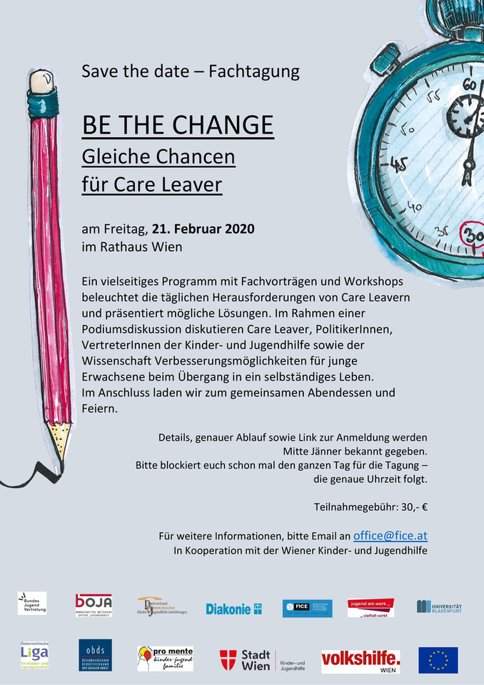 Save the Date - Care Day - 21.02.2020  Be the Change Fachtagung - Gleiche Chancen für Care Leaver