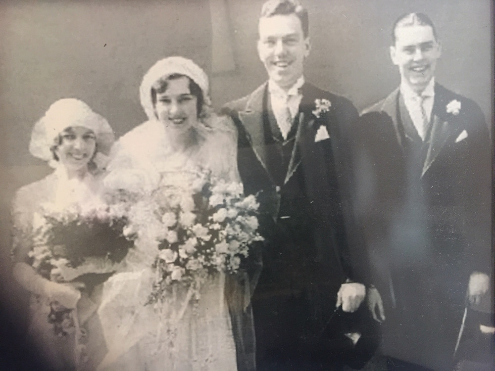 1931 Wedding, 20's style still in effect, St John family, Edward and Maybelle