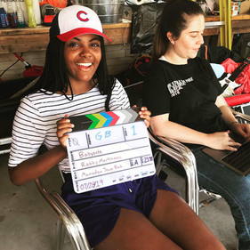 """Sitting in the writer's chair on set for """"Babygate"""", a short film I wrote"""