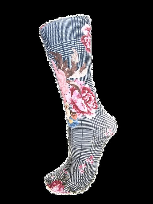 Flower Plaid - Compression Socks