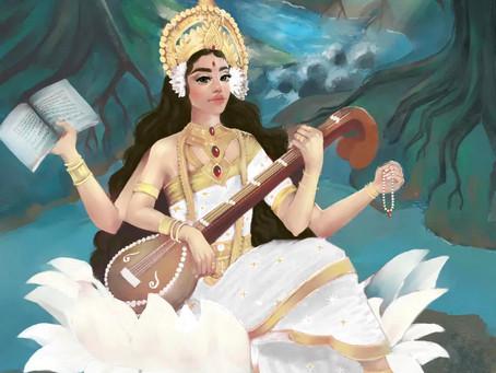 Saraswati; the goddess of learning and the Saraswati river ...
