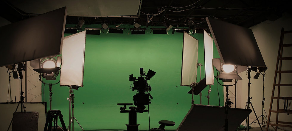 video studio with camera and green screen
