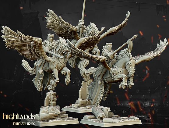 Pegasus Knights unit of 3 from Highlands Miniatures