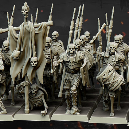 10 Skeleton Warriors with command group by Highland Miniatures