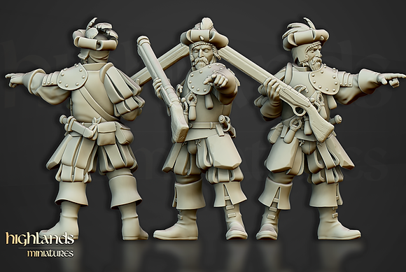 Sunland Imperial Arquebusier captain from Highlands miniatures