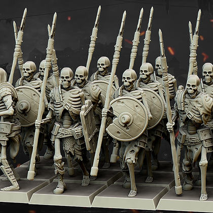 Skeleton Warriors with Spear and shield from Highland Minatures