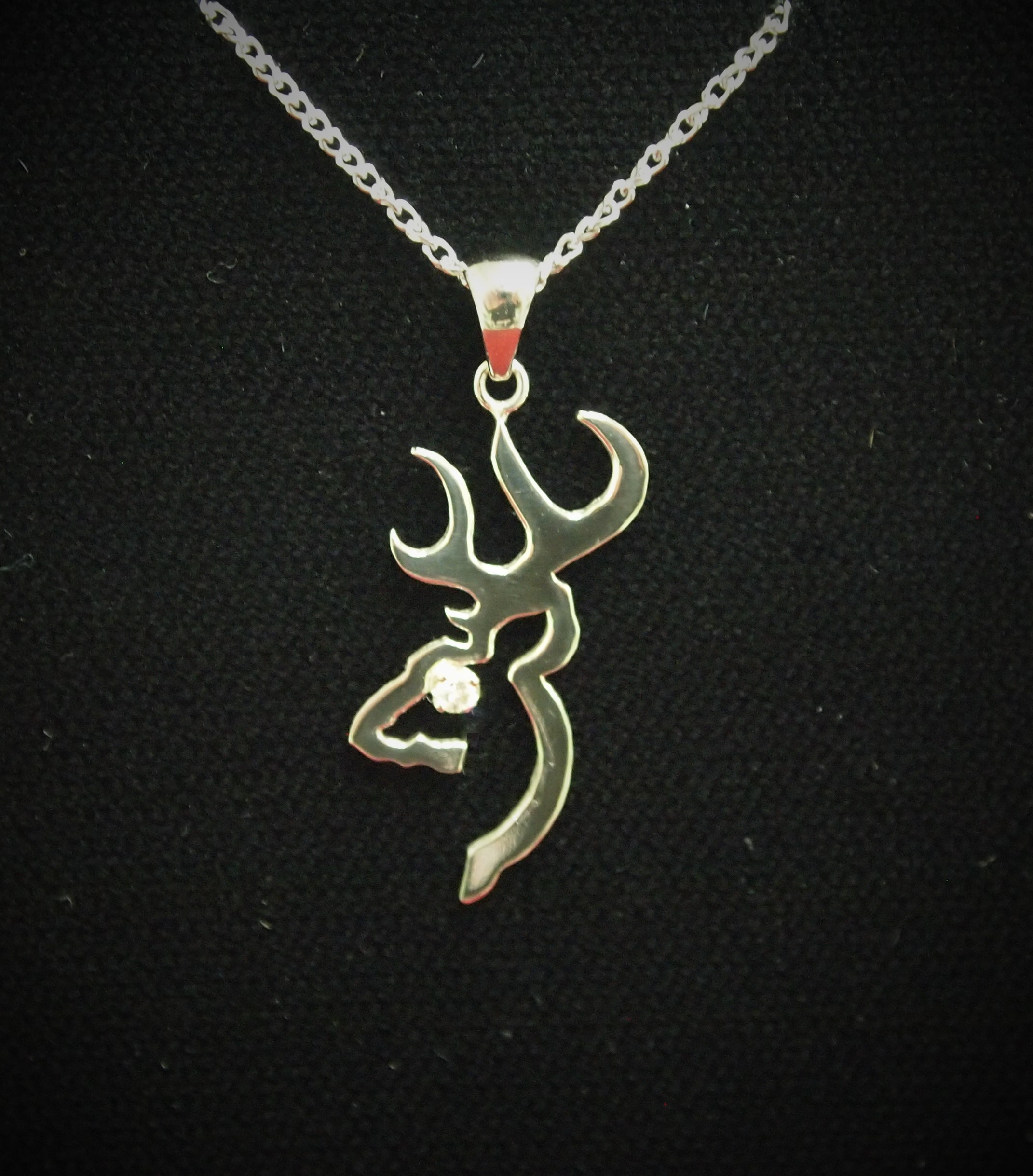 10kt White Gold Browning Pendat
