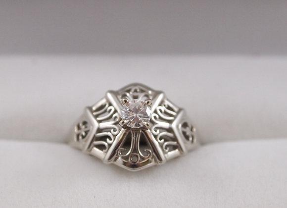 14kt Filigree Design Diamond Ring