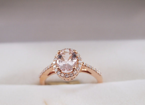 14kt Rose Gold Morganite Halo