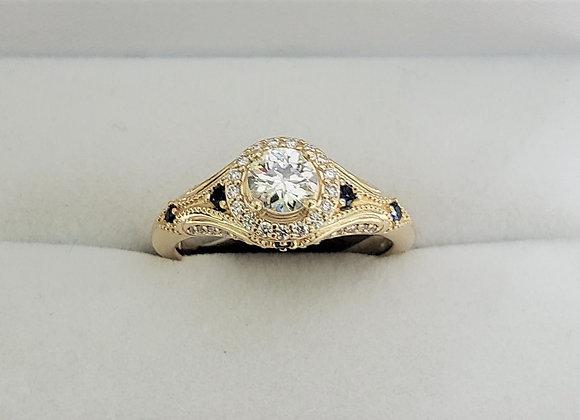 14kt Halo Diamond & Sapphire Ring