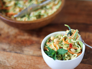 Zucchini Noodle Salad with Spicy Peanut Sauce