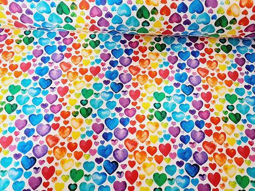 Colourful hearts (white background) - last piece 145cm