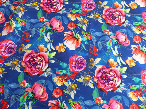 Floral geo bees, dragonfly (bamboo lycra) - last piece75cm