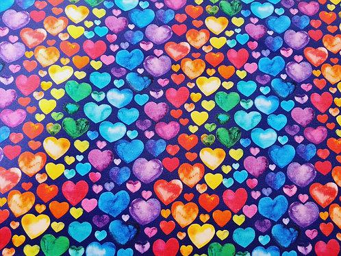 Colourful hearts (dark blue background)