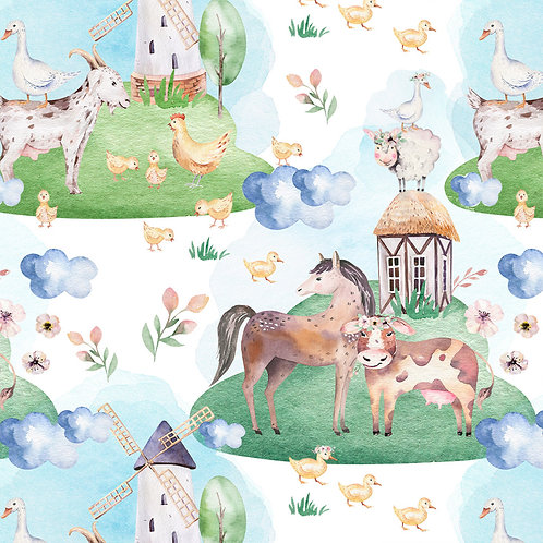 Watercolour farm animals