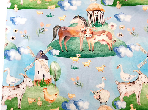 Watercolour farm animals (light blue)