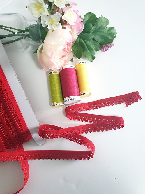Elastic Picot Lace Flower in Red