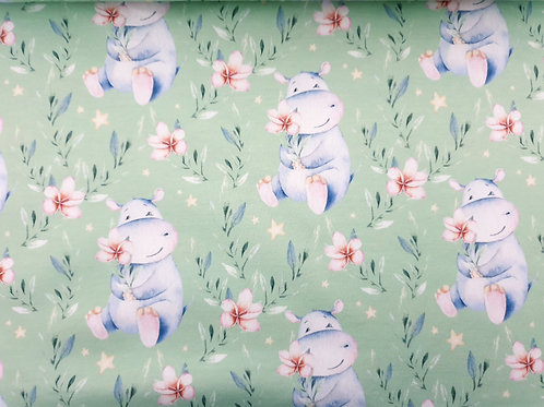 Cute hippo floral on mint green