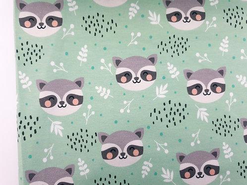 Cute raccoon in mint green