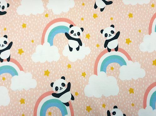 Panda bear and rainbow (salmon pink)