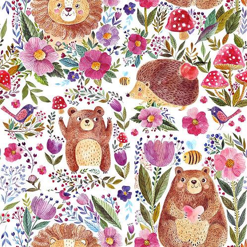 Floral bear, lion & hedgehog -last piece 140cm