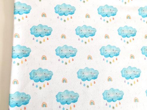 Smiley watercolour cloud (white)