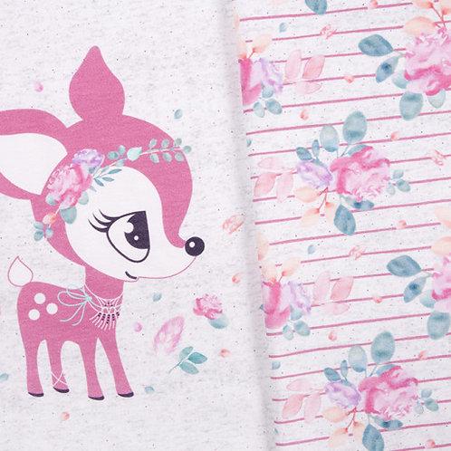 BohoKitz by Nikiko (Panel with floral coordinates) - pink/light grey