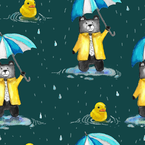 Bear & duck on puddles