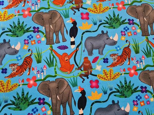 Borneo happy jungle - Blue  (Cotton Lycra)