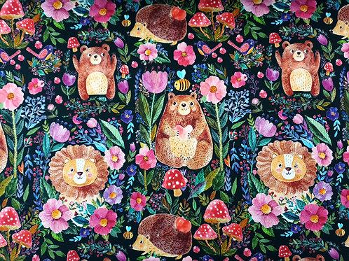 Bear, lion, hedgehog on black