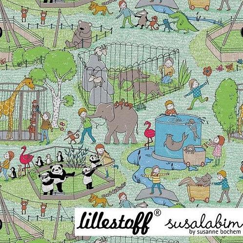 Lillestoff zoo animals (on grey melange)