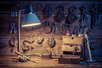 old-tools-locks-keys-locksmiths-workshop-old-wooden-table-old-tools-locks-keys-locksmiths-